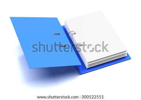 Opened folder with blank page, 3d render - stock photo