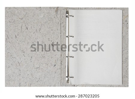 Opened folder with blank papers, clipping path included. - stock photo