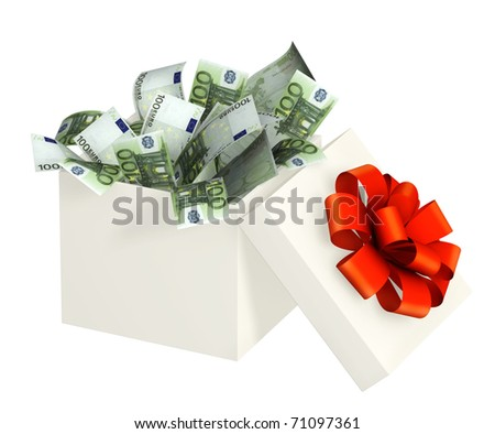 Opened gift and euro. Objects isolated over white