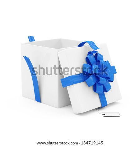 Opened Gift Box with blank isolated on white background - stock photo