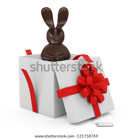Opened Gift Box with Chocolate Easter Bunny isolated on white background