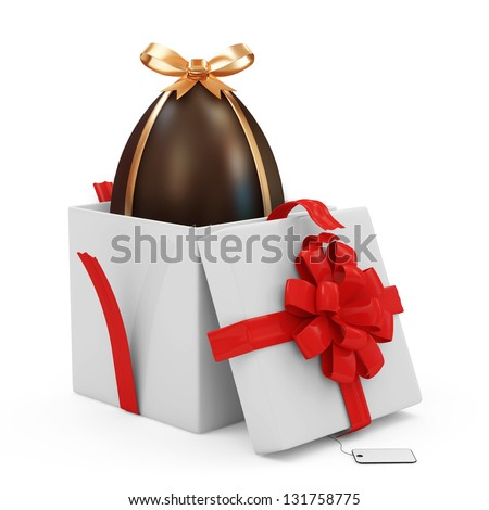 Opened Gift Box with Chocolate Easter Egg isolated on white background