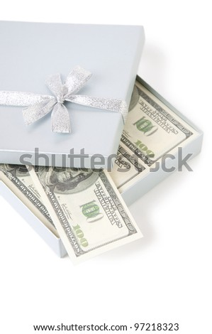 Opened gift box with US currency, isolated over white