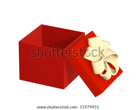 Opened gift 3d box of red color. Object over white