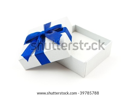 opened gift with blue bow isolated on white - stock photo