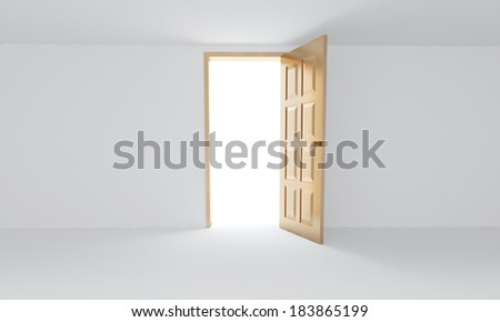 opened golden door in white room - stock photo
