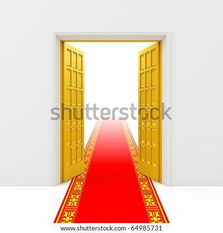 Opened golden doors - stock photo