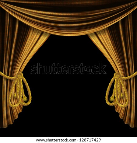 Opened golden theater drapes, curtains on black background.