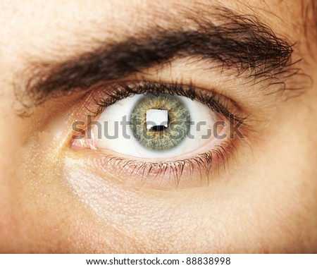 opened green eye extreme closeup - stock photo