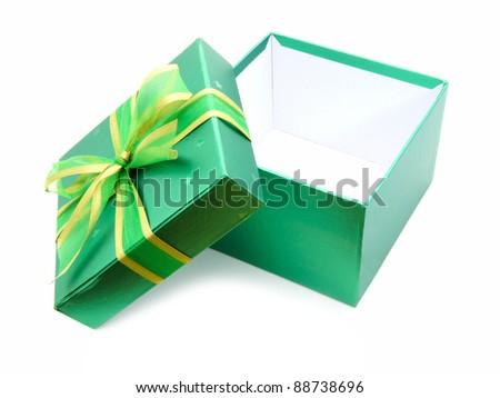 Opened Green Gift Box with lid and ribbon over white - stock photo