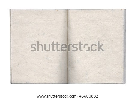 Opened handmade book with blank paged. Isolated on white. Clipping path included. - stock photo