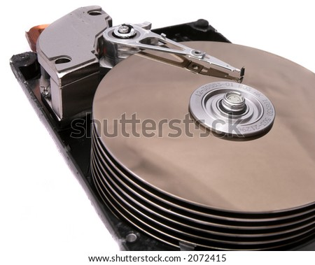 Opened Hard Disk Drive Isolated on White - stock photo