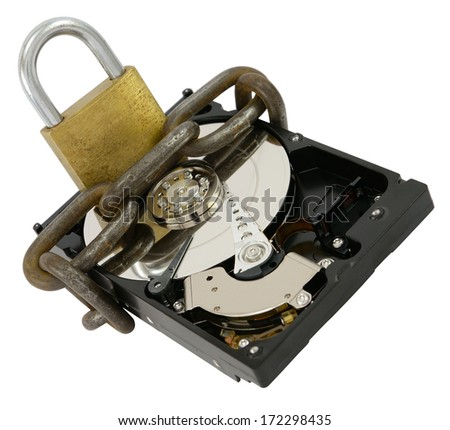 Opened hard disk drive with chain and lock as data protection concept, isolated on white. - stock photo
