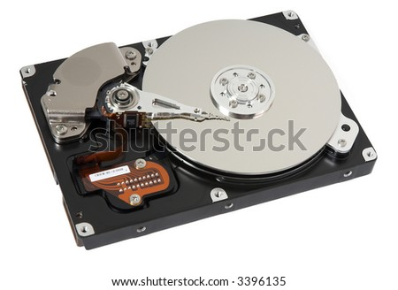 Opened hard drive on white background