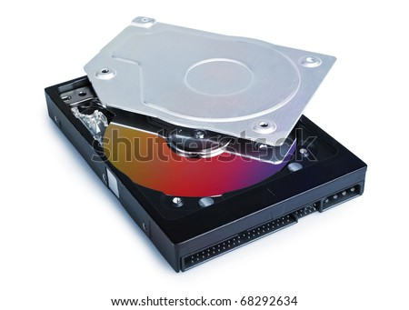 Opened Hard Drive with soft shadow isolated on white. Clipping Path without shadow saved (only in full size - max jpg )