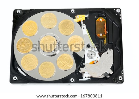 Opened hard without cower disk with israeli coins isolated on white background - stock photo
