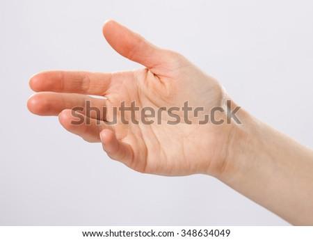 Opened human hand on grey background - stock photo