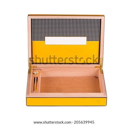 Opened humidor isolated on the white background - stock photo