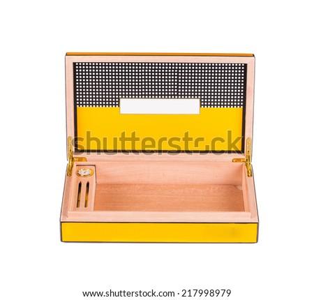 Opened humidor isolated on white background closeup  - stock photo