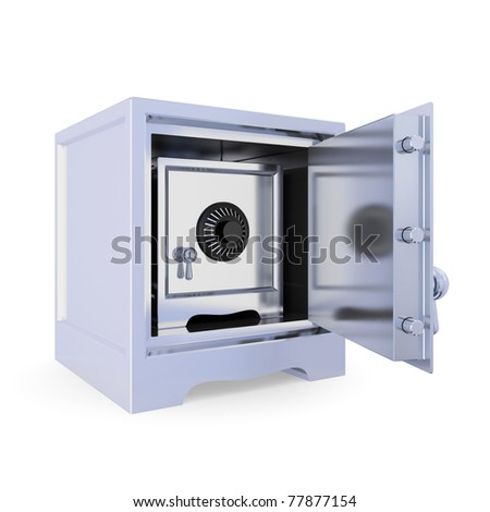 Opened iron safe and another safe inside. Double protection concept. Isolated on white background. 3d rendered.