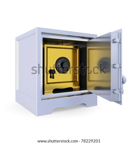 Opened iron safe and golden safe inside. Double protection concept. Isolated on white background. 3d rendered.