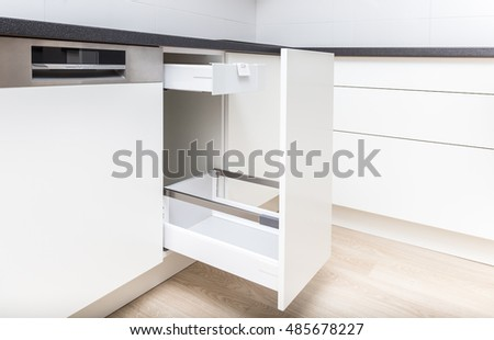 Opened Kitchen Drawer With High Front For Garbage Bin And Inner Drawer  Inside For Sundries And