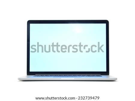 Opened laptop isolated on white background with empty screen