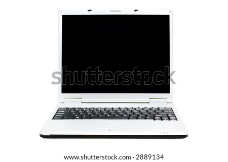 opened laptop on a white background with pretty shadow