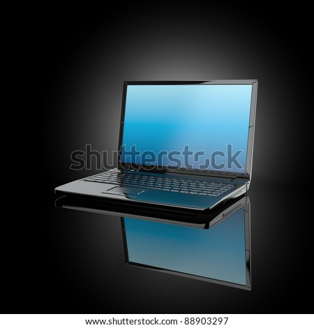 Opened laptop on black background and volume light. 3d - stock photo