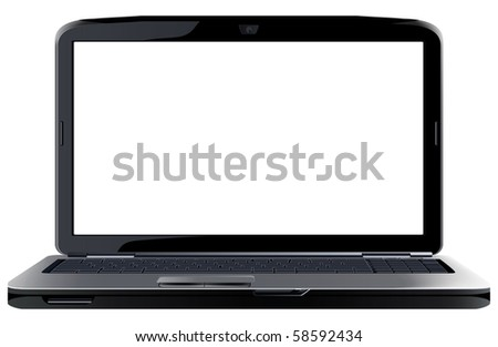Opened laptop. Raster version of vector illustration. - stock photo
