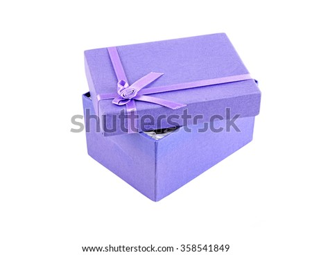 Opened lilac gift box, isolated on white background