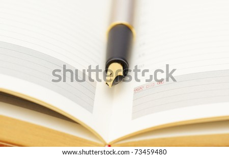 Opened lined diary with a gold  pen inside - stock photo