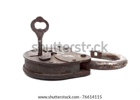 Opened lock and key - stock photo
