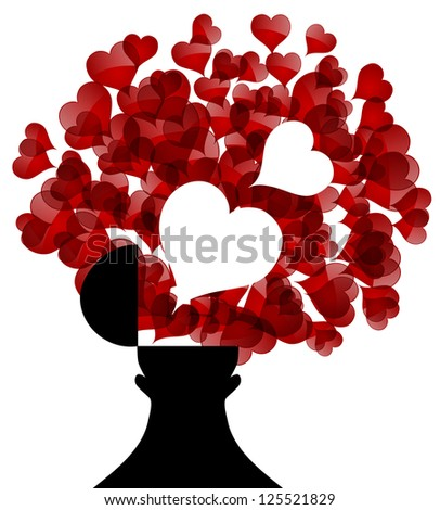 opened male head generating lots of hearts, symbol of love - stock photo