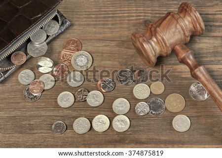 Opened Male Leather Wallet, Scattered British Different Coins And Judges Gavel On Old Rustic Rough Brown Wood Background With Copy Space, Overhead View - stock photo