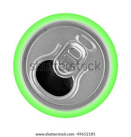 Opened metal can isolated on white background