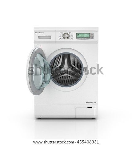 Opened modern washing machine in white color. 3d illustration
