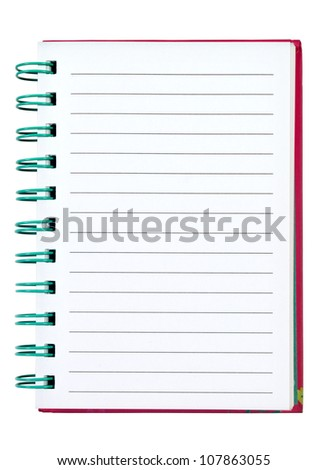 Opened note book isolated on white on white background - stock photo