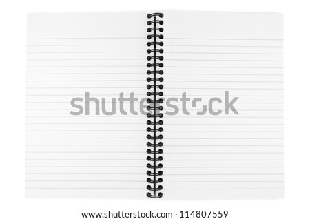 opened notebook isolated on white