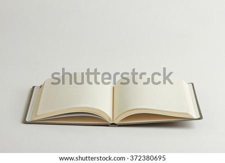opened notebook isolated on white background - stock photo