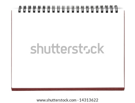 Opened notebook isolated with clipping path over white background - stock photo