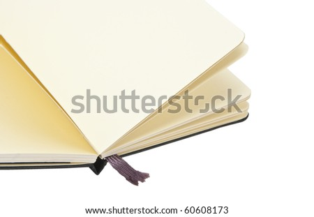 Opened notebook on white