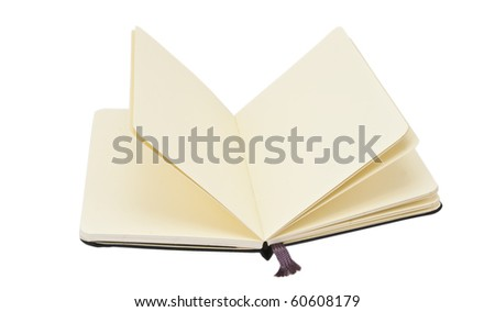 Opened notebook on white - stock photo