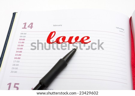 opened notebook - Valentines day concept