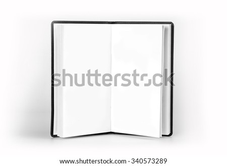 Opened notebook with blank pages on white background - stock photo