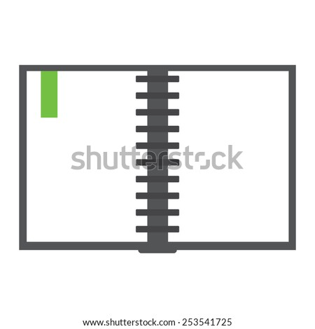 opened notebook with bookmarker - stock photo