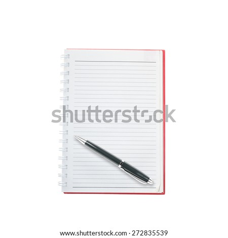 Opened notepad and pen  white background - stock photo