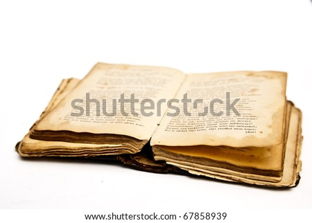 opened old book - stock photo