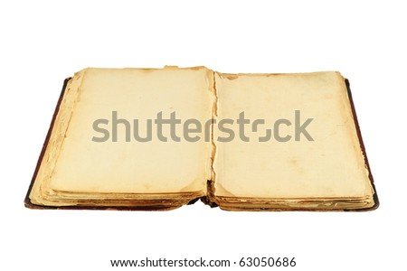 Opened old book isolated on white background - stock photo