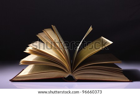 opened old book on black and white background - stock photo